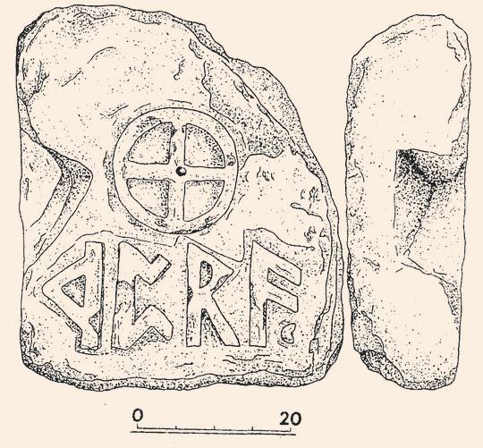 Древнегерманская плита с руническими надписями обнаруженная на горе Опук